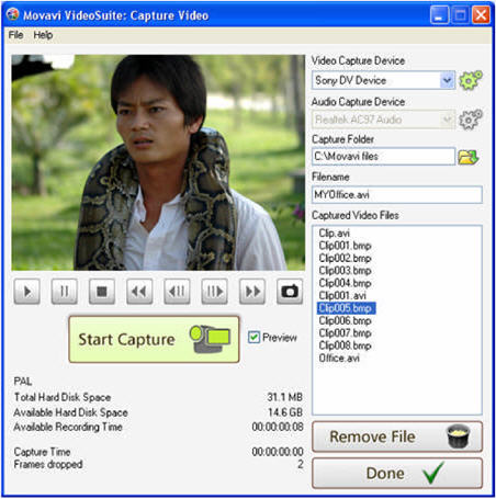 Movavi Video Suite - capture video from mini DVD to AVI