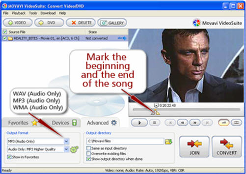 extract songs from DVD to MP3 WAV WMA